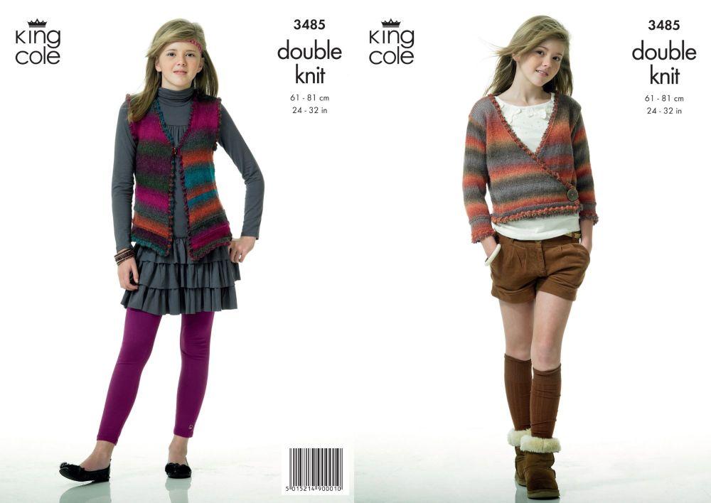 3485 Knitting Pattern - Girls Double Knit 24