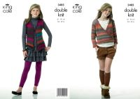 "3485 Knitting Pattern - Girls Double Knit 24"" - 32"""