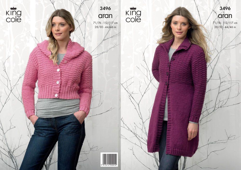 3496 Knitting Pattern - Ladies Aran 28/30 - 44/46