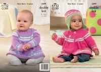 """3499 Knitting Pattern - Babies DK 14"""" - 22"""""""