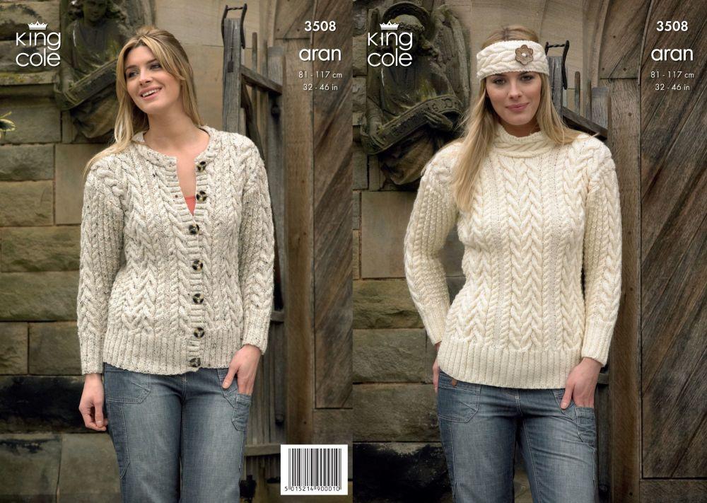 3508 Knitting Pattern Aran - 32 - 46 ins Ladies