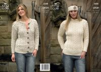 3508 Knitting Pattern Aran - 32 - 46 ins Ladies
