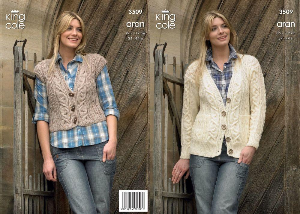 3509 Knitting Pattern Aran - 34 - 44 ins Ladies