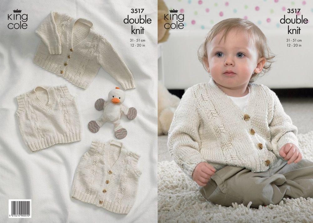 3517 Knitting Pattern - Babies Double Knit 12