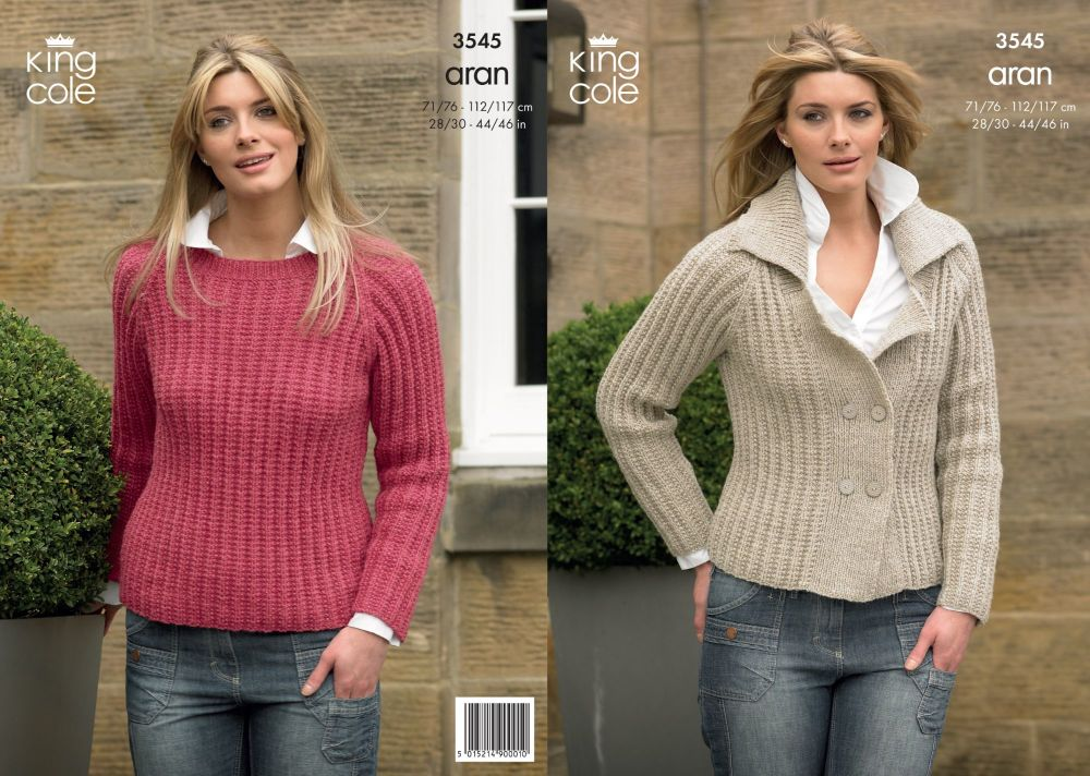 3545 Knitting Pattern - Aran Ladies 28/30 - 44/46