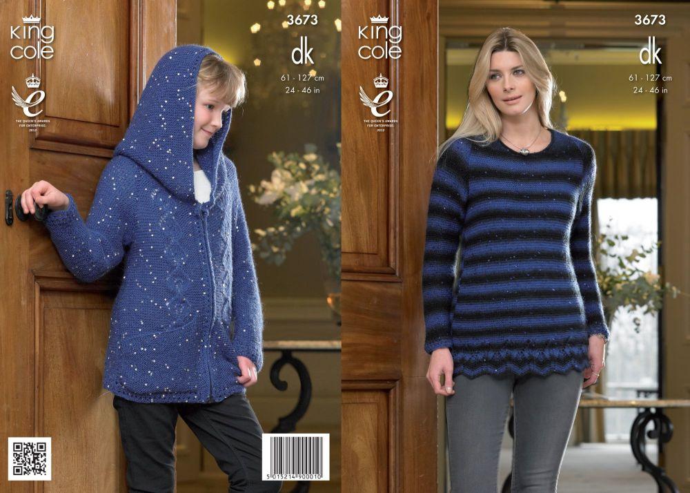 3673 Knitting Pattern DK - Girls & Ladies 24 - 46