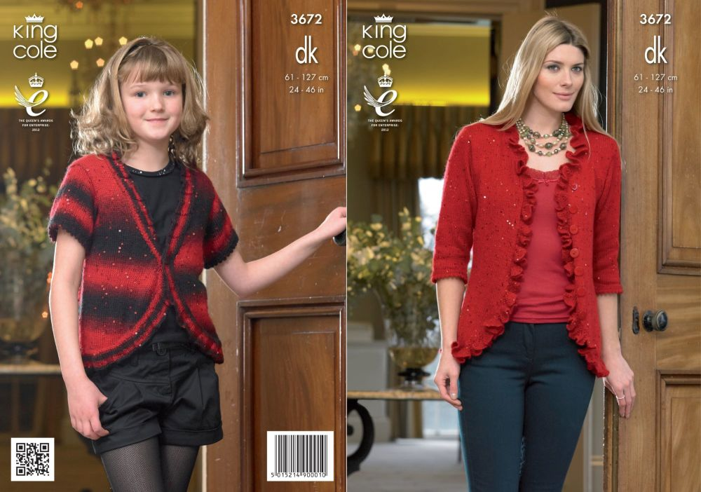3672 Knitting Pattern DK - Girls & Ladies 24 - 46