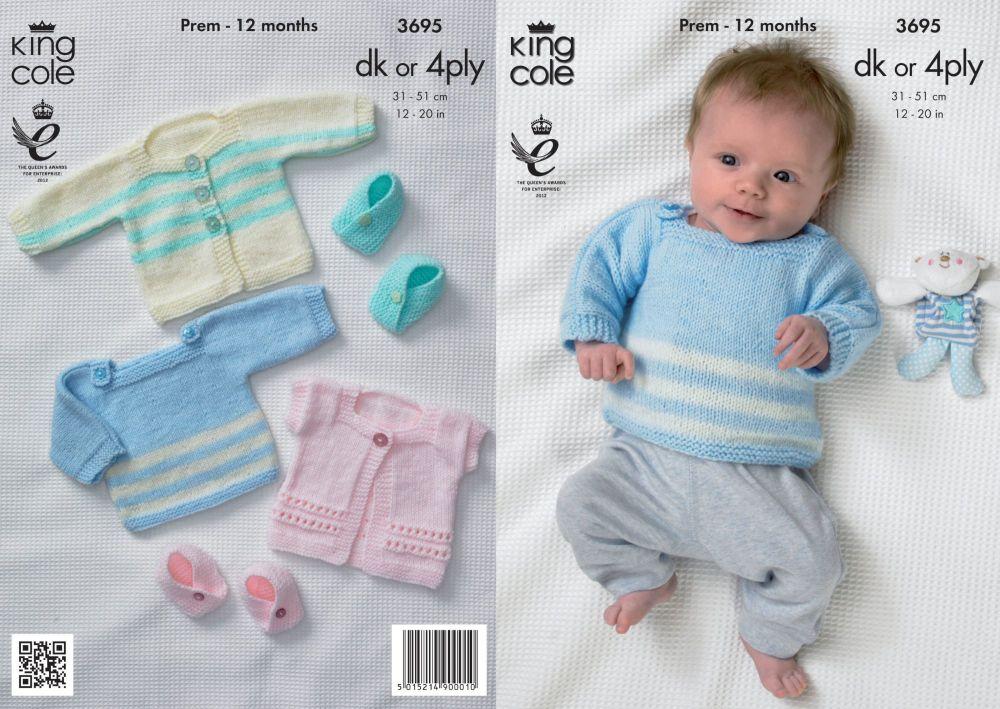 3695 Knitting Pattern DK & 4 Ply - Prem - 12 Months