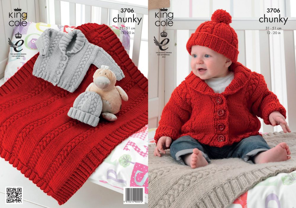 3706 Knitting Pattern Chunky - Babies 12 - 20