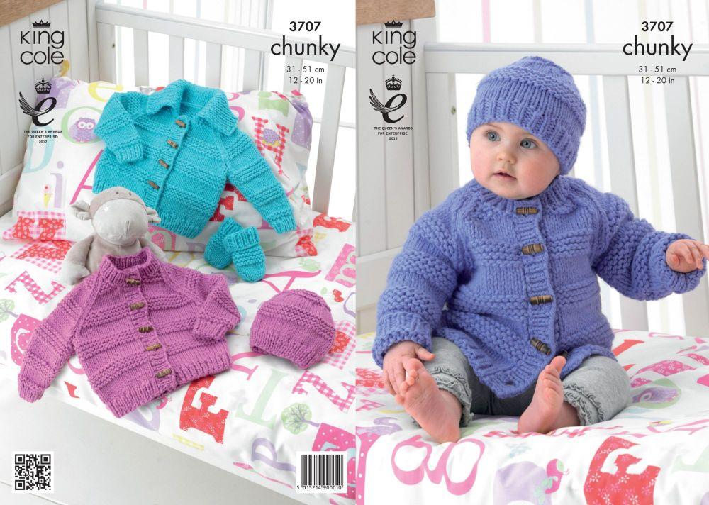 3707 Knitting Pattern Chunky - Babies 12 - 20
