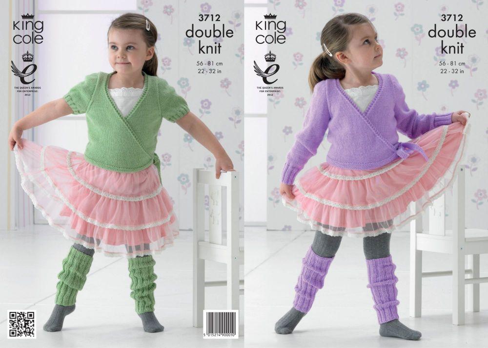 3712 Knitting Pattern Double Knit - Girls Ballet Cardigan 22