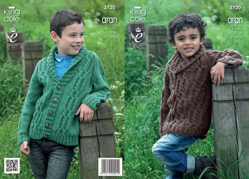 3720 Knitting Pattern Aran - 1-8 Years