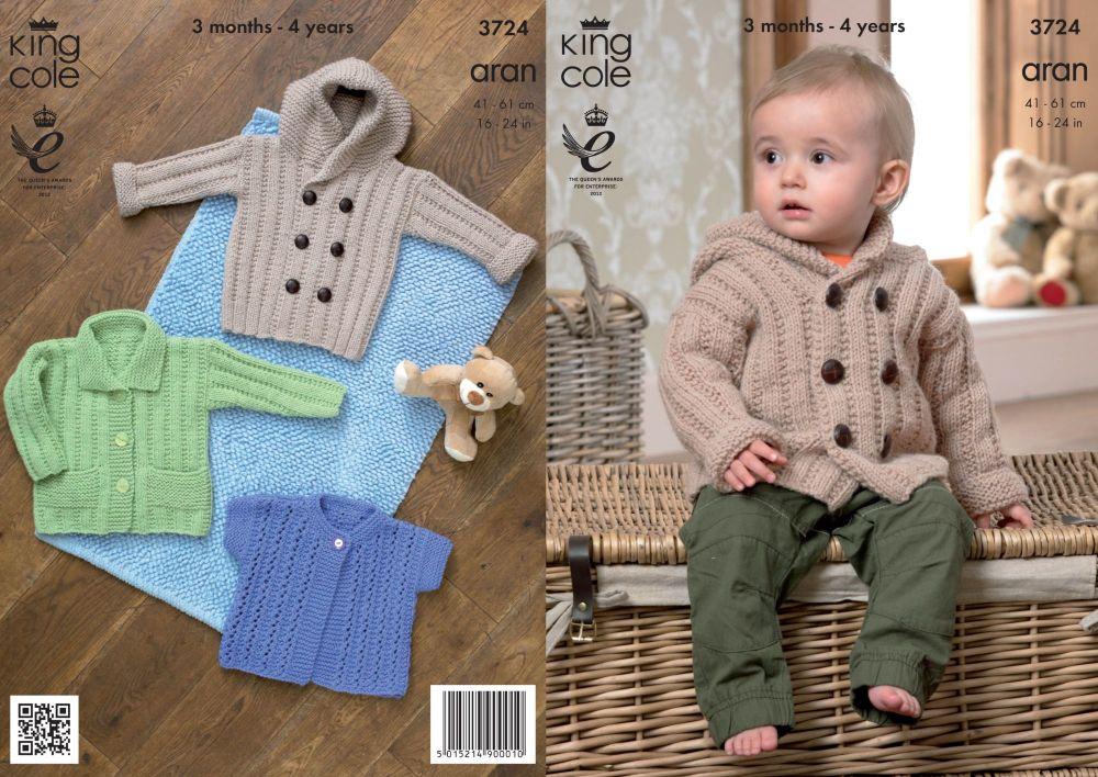 3724 Knitting Pattern Aran - 3 Months - 4 Years