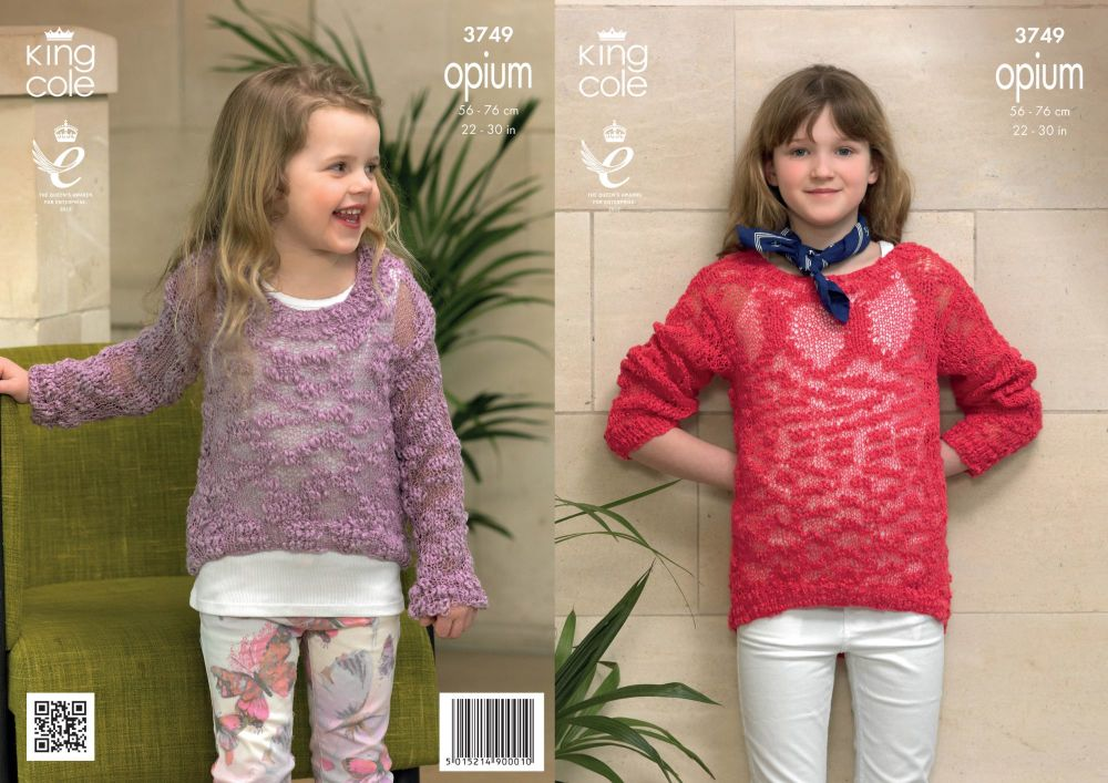 3749 Knitting Pattern Opium - Girls Easy Knit 22 - 30