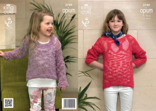 3749 Knitting Pattern Opium - Girls Easy Knit 22 - 30