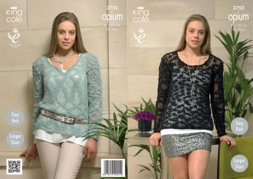 3752 Knitting Pattern Opium - Ladies Easy Knit 32 - 50