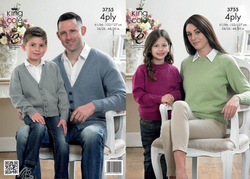 3755 Knitting Pattern 4 Ply - 24/26 - 48/50 ins