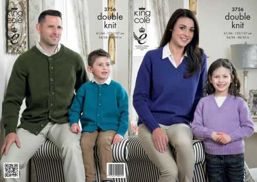 3756 Knitting Pattern Double Knit - 24/26 - 48/50 ins