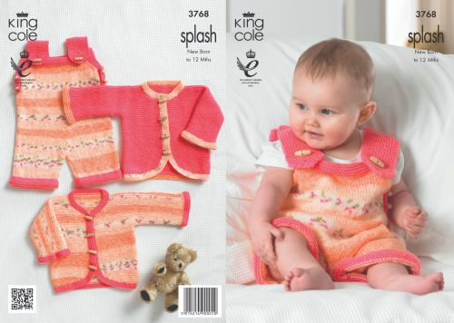 3768 Knitting Pattern - Splash New Born - 12 Months