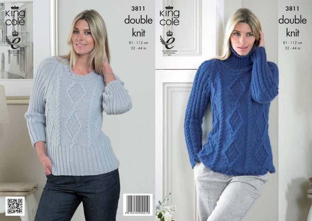 3811 Knitting Pattern Ladies DK - 32-44 in (Large Sizes)