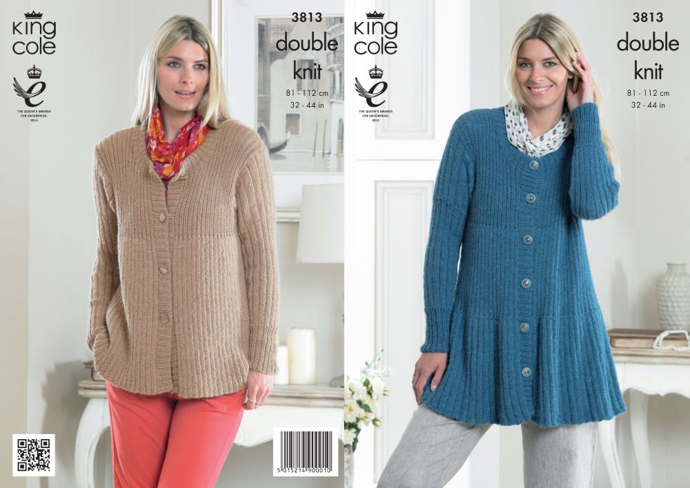 3813 Knitting Pattern Ladies DK - 32-44 in (Large Sizes)