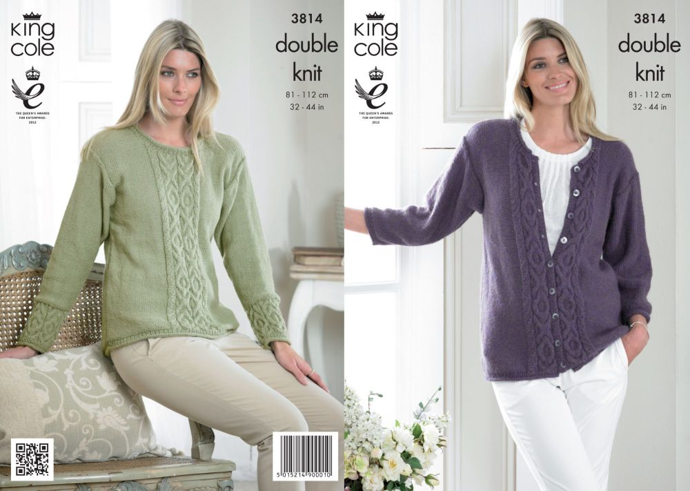 3814 Knitting Pattern Ladies DK - 32-44 in (Large Sizes)