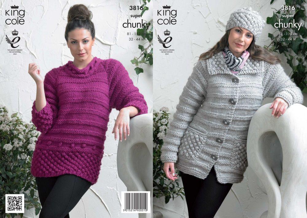3816 Knitting Pattern Super Chunky - Ladies 32 - 44