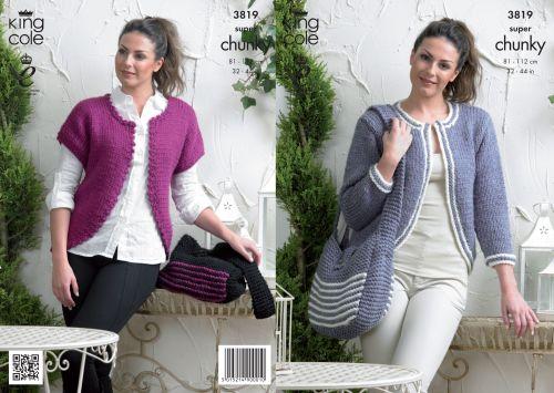 3819 Knitting Pattern Super Chunky - Ladies 32 - 44