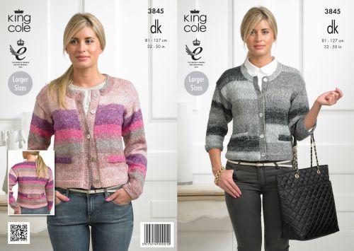 3845 Knitting Pattern - Shine DK 32-50 in (Large Sizes) Ladies