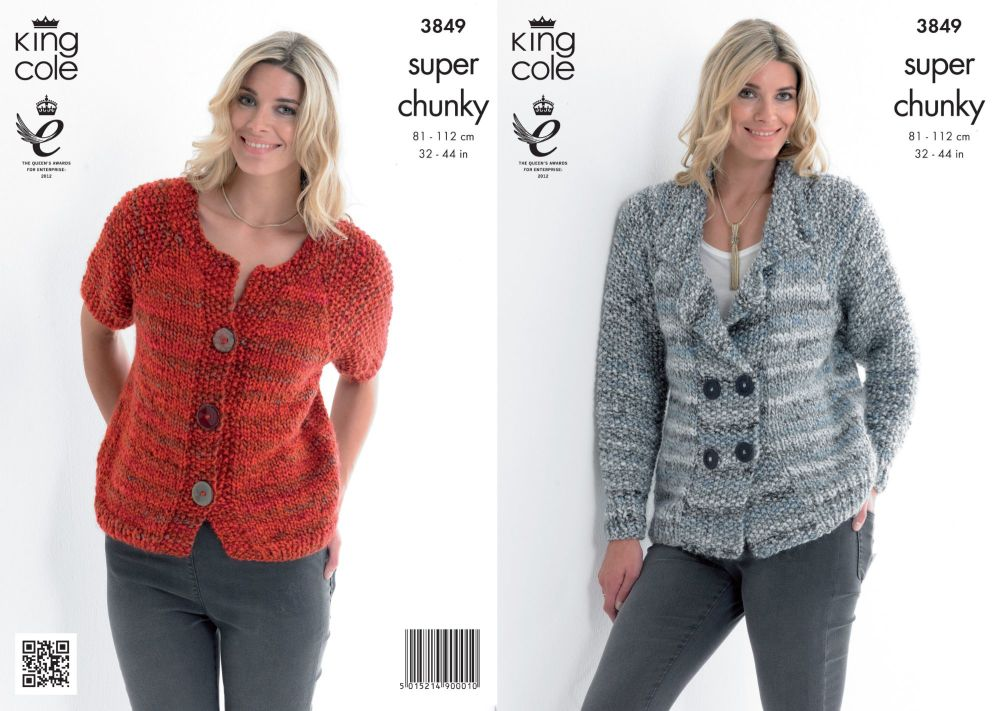 3849 Knitting Pattern - Super Chunky 32 - 44 in