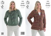 3850 Knitting Pattern - Super Chunky 32 - 44 in*