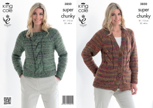 3850 Knitting Pattern - Super Chunky 32 - 44 in
