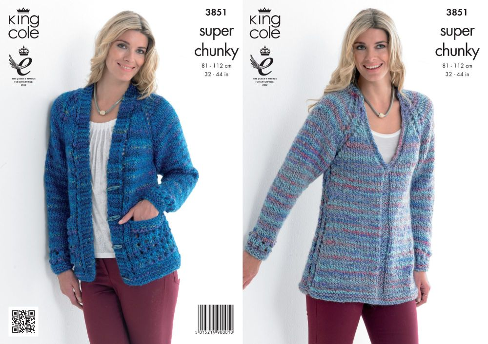 3851 Knitting Pattern - Super Chunky 32 - 44 in