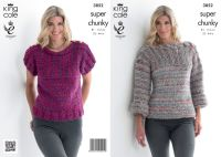 3852 Knitting Pattern - Super Chunky 32 - 44 in