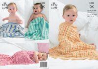 3422 Knitting Pattern DK - Babies Blankets