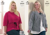 """3247 Knitting Pattern - Aran Ladies 40"""" - 50""""*"""