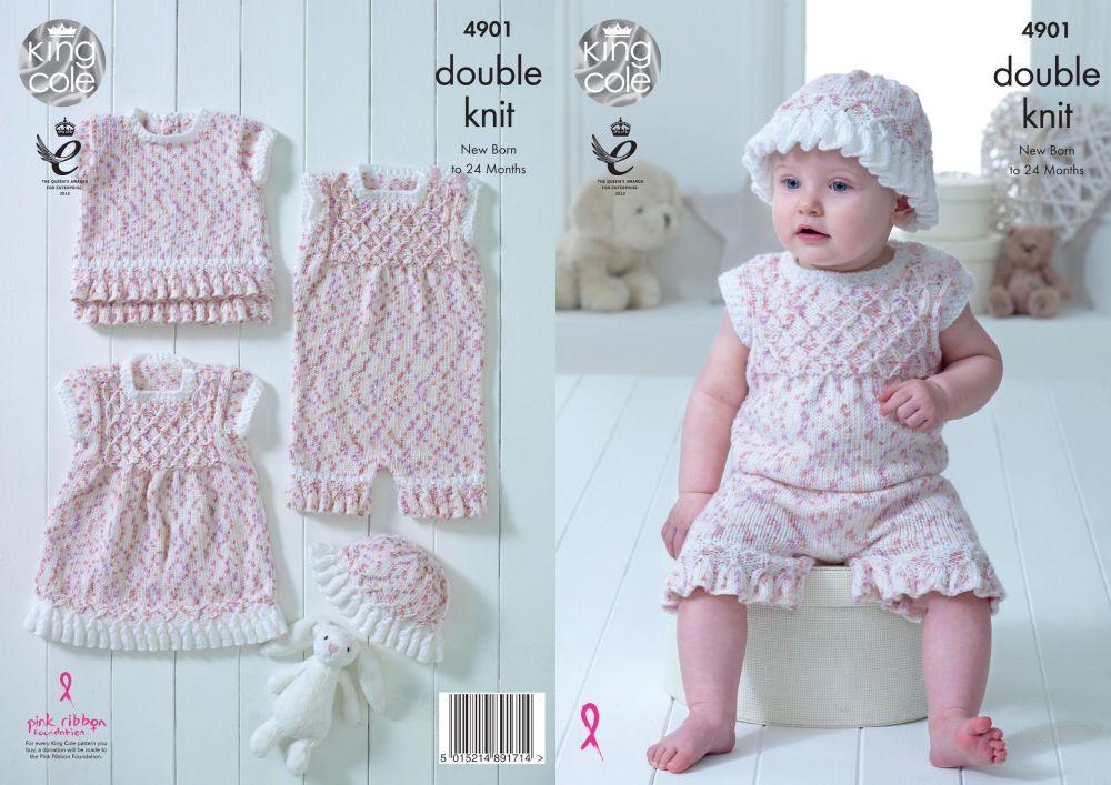 4901 Knitting Pattern - Double Knit Babies 14 - 22