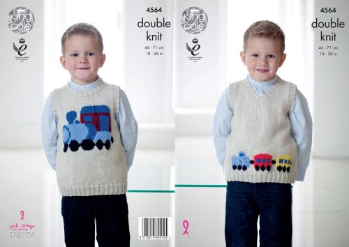 4564 Knitting Pattern - Double Knit Pullover 18 - 28