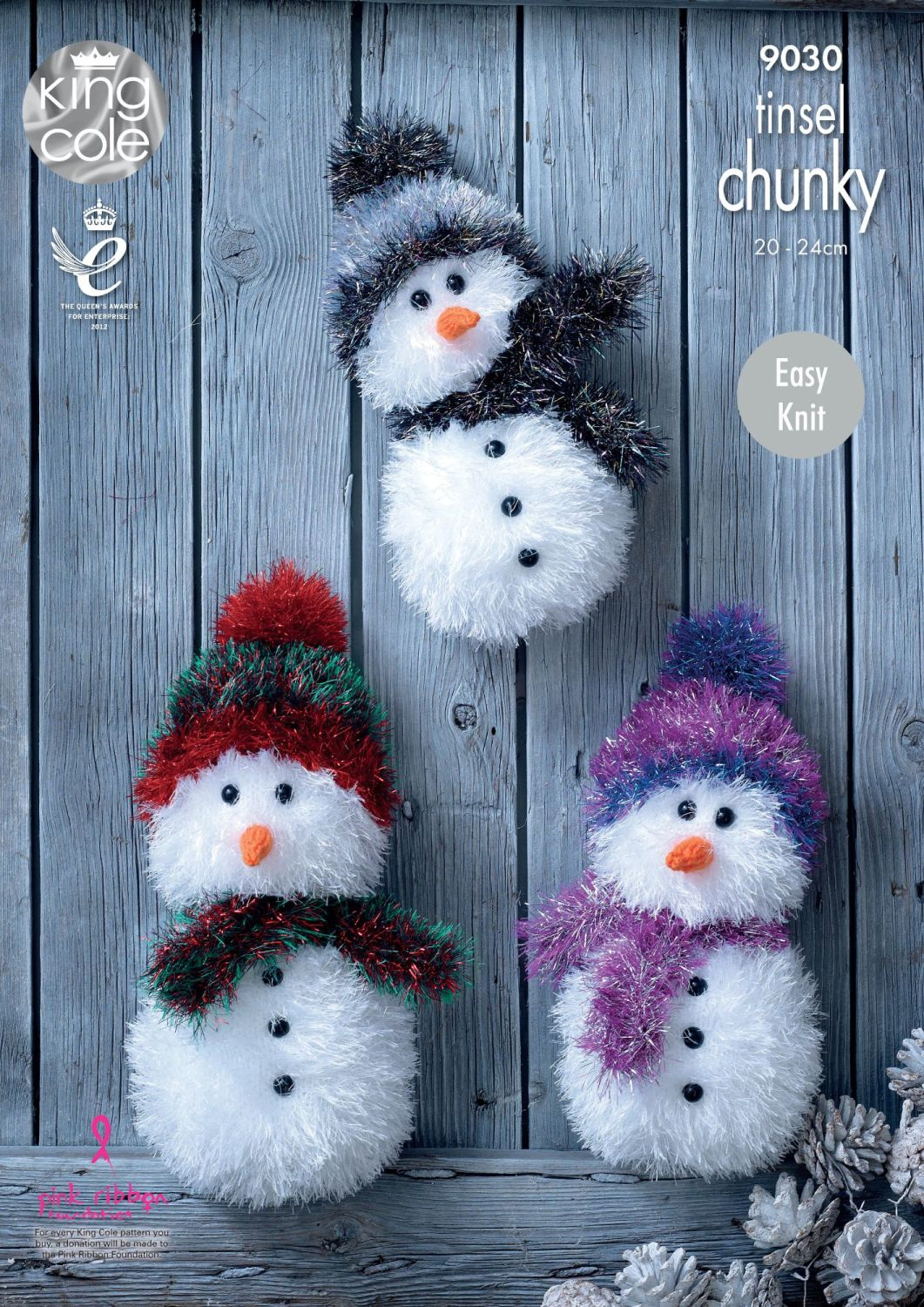 9030 Knitting Pattern - Tinsel Chunky Snowman (Easy Knit)