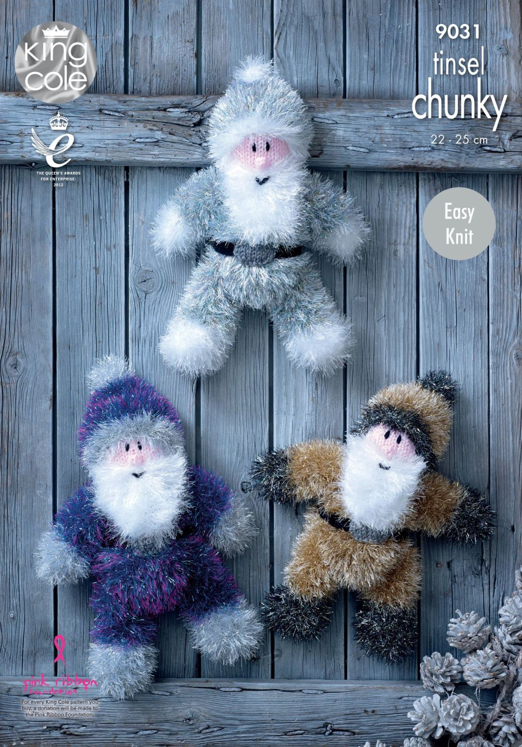 9031 Knitting Pattern - Tinsel Chunky Father Christmas (Easy Knit)