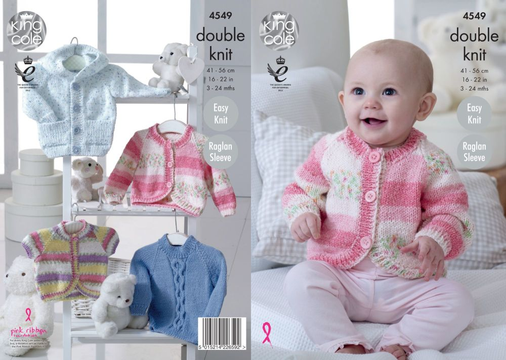 4549 Knitting Pattern - DK Babies 3 - 24 months Easy Knit, Raglan Sleeves