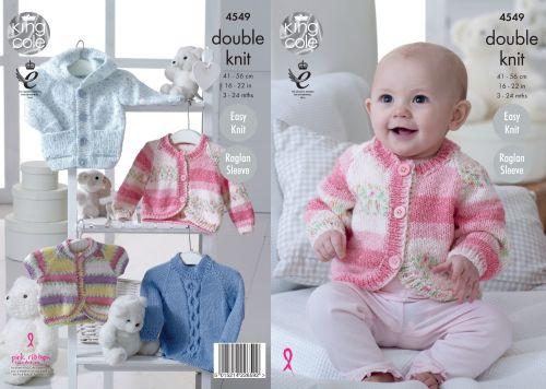 4549 Knitting Pattern - DK Babies 3 - 24 months Easy Knit, Raglan Sleeves