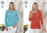 "4532 Knitting Pattern - Ladies DK 32 42"" (Raglan Sleeve)"