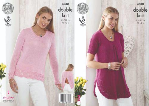 4530 Knitting Pattern - Ladies DK Top & Sweater 32 - 42