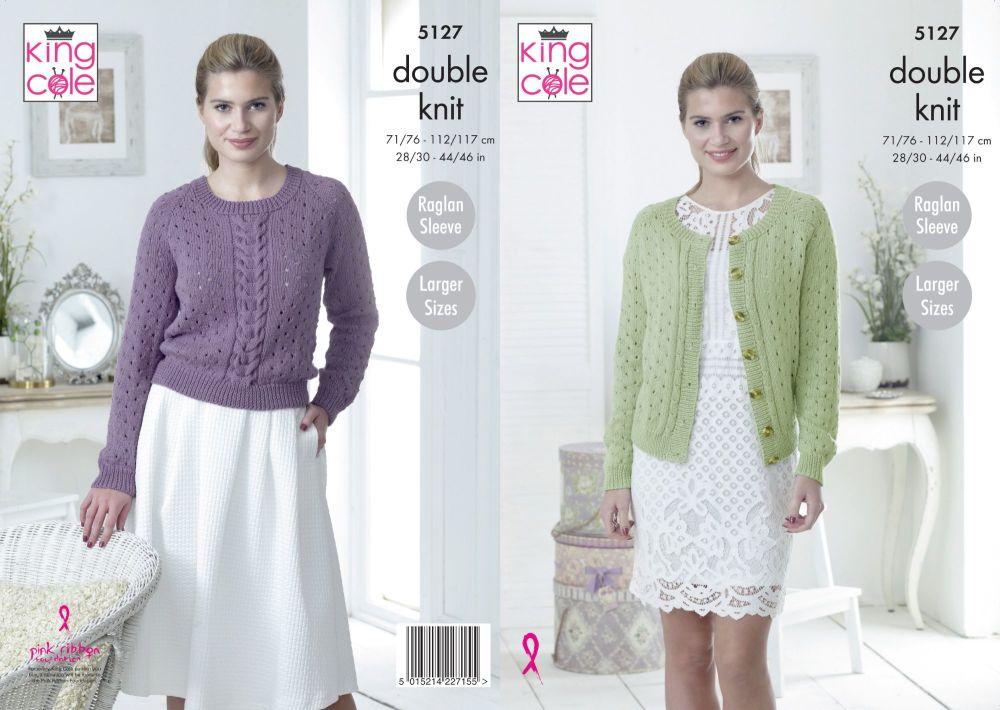 5127 Knitting Pattern - DK Sweater & Cardigan 28/30 - 44/46 (Raglan Sleeve)