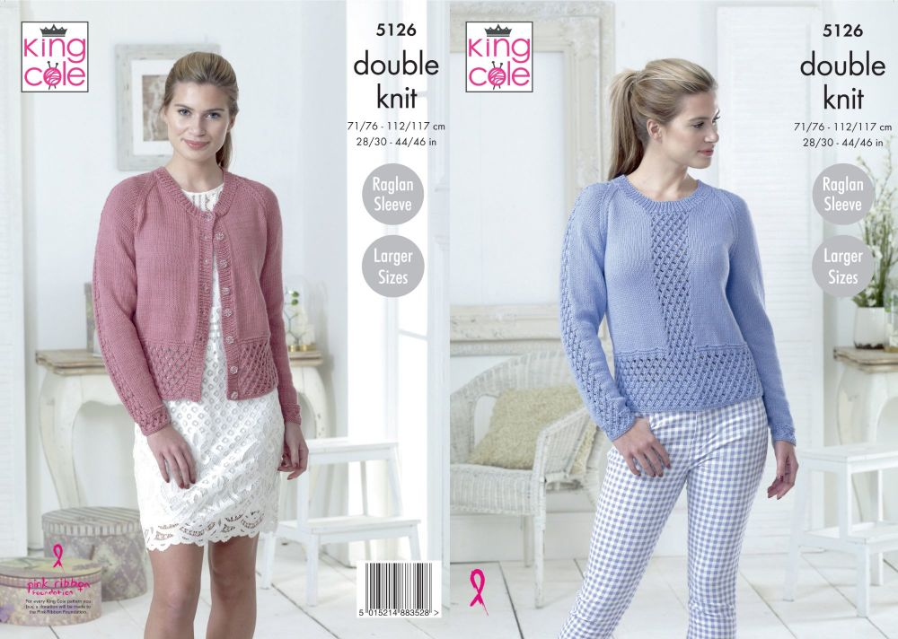 5126 Knitting Pattern - Cardigan & Sweater DK 28/30 - 44/46 (Raglan Sleeve)