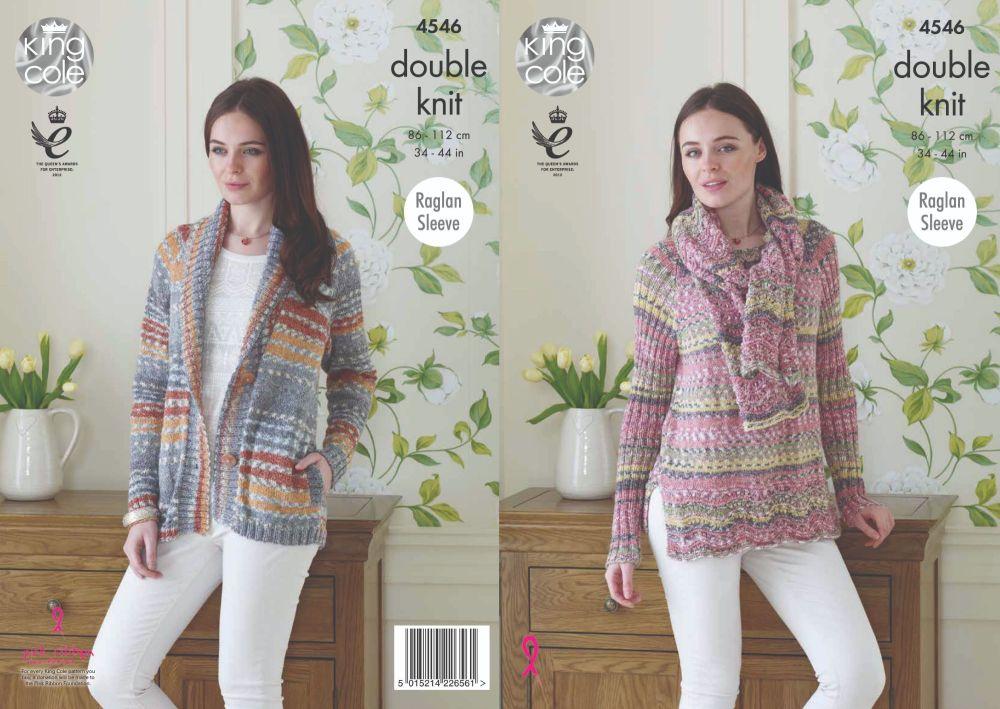 4546 Knitting Pattern - Jacket, Sweater & Scarf DK 34 - 44