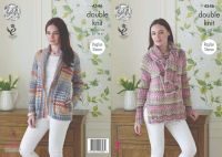 "4546 Knitting Pattern - Jacket, Sweater & Scarf DK 34 - 44"" (Raglan Sleeve)"