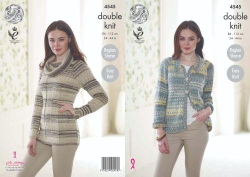 4545 Knitting Pattern in DK - Cardigan & Sweater 34 - 44