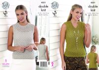 4521 Knitting Pattern DK - Lace Top 28/30 - 44/46""